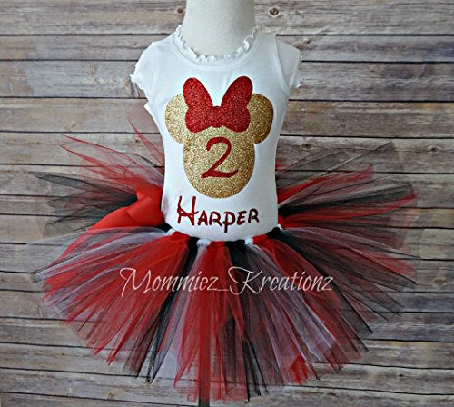 Minnie Mouse Red & Gold Tutu Set, Gold Minnie Outfit, Red Minnie Tutu Set by Mommiez_Kreationz