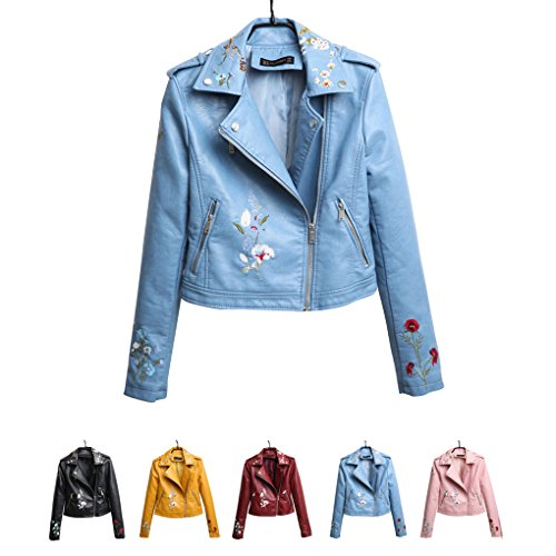 Collar Blue Sky Embroidery Masterein Leather Floral Coat Turn Short Long PU Jacket Zipper Autumn Down Women's Sleeve axq7nqEZwH