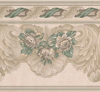 Beige Green Grey Floral Wide Wallpaper Border Retro Design, Roll 15' x 9''