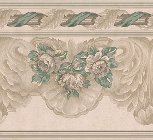 Beige Green Grey Floral Wide Wallpaper Border Retro Design, Roll 15' x -