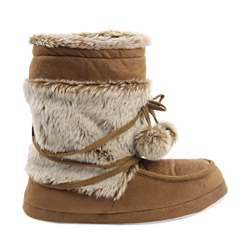 Gohom brown Boots House Indoor Women's Winter Warm 2 Slipper Uw4gUBxr