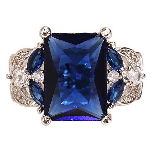 wsloftyGYd - Anillo de Compromiso, diseño de Zafiro sintético Brillante, Azul, US 6, 1
