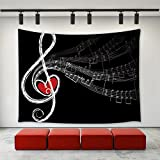LBKT Music Notes Tapestry Wall Hanging Abstract Music Note With Love Themed Pattern Music Lovers Wall Tapestry Home Decoration Wall Decor Art Tapestries for Bedroom Living Room College Dorm 60''x40''