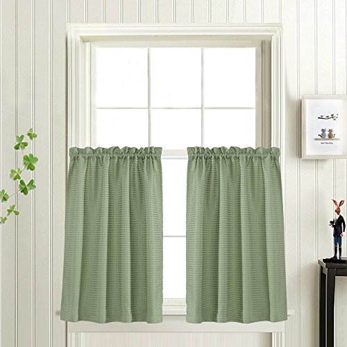 Waffle-Weave Textured Tier Curtains for Kitchen Water-proof Window Curtains for Bathroom (72-inch x 36-inch, Sage, Set of Two) (Panels Kitchen Curtain)