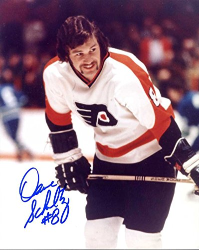 Dave Schultz Autographed/Original Signed 8x10 Color Photo w/the Philadelphia Flyers - He Added His Number 8