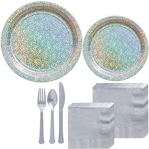 Party City Prismatic Silver Tableware Kit for 16 Guests, 146 Pieces, Includes Plates, Silver Napkins, and Utensils -