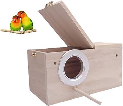 Mekta Wooden bird nest hanging bird house natural wood bird cage resting place for birds