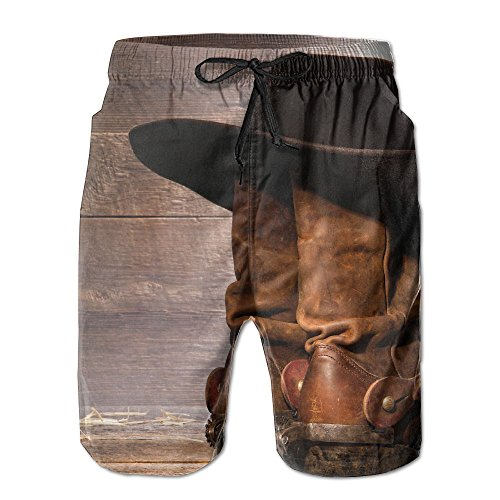 Western Cowboy Boots Summer Beach Board Shorts for Men XX-Large by Coolsummer