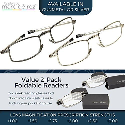 d9e57815cac Marc De Rez Foldable Reading Glasses 2 Pack - Mini Flip Top Cases - Folding  Prescription Readers For ...