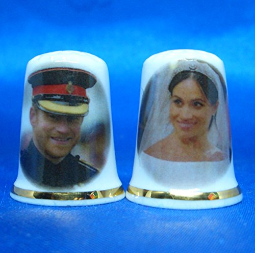 Birchcroft Porcelain China Collectable Thimble - Prince Harry & Meghan Markle Royal Wedding Pair Birchcroft China