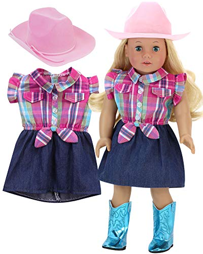 Sophia's Plaid and Denim Cowgirl Dress for Dolls Plus Pink Cowgirl Hat 2 Piece Doll Cowgirl Set