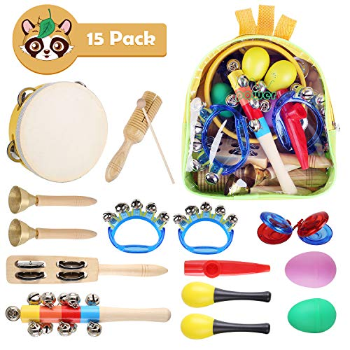 Kids Musical Instruments Set - 15 Pcs Early Learning Toys for Toddlers, Preschool Includes Tambourine, Bell Stick, Maraca, Flute, Egg Shaker, Triangle, Finger Clapper, Tone Blocks and Backpack