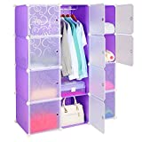 Leapair Multi-function 12 Cube DIY Wardrobe Plastic Combination Cabinet Storage Toy Organizer Purple For Sale