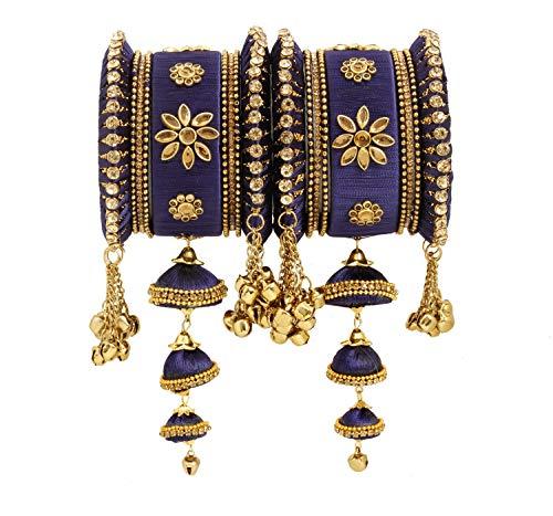 Vishal-Vatika Indian Fashionable Silk Thread Party Wear Bangle for Women Bracelet/Kada Set (Navy Blue, 2.4)