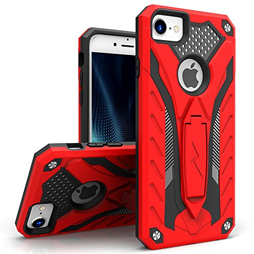 Zizo Static Series Compatible with iPhone 8 Case Military Grade Drop Tested with Built in Kickstand iPhone 7 case RED Black