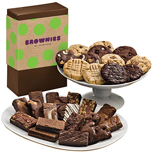 Fairytale Brownies Deluxe Cookie & Sprite Combo Gourmet Food Gift Basket Chocolate Box - 3 Inch x 1.5 Inch Snack-Size Brownies and 3.25 Inch Cookies - 30 Pieces (Snack Combo Gourmet)