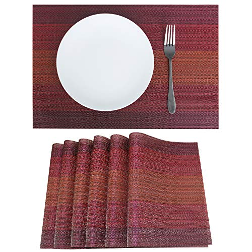 Familighter Placemats for Dining Table Set of 6 Woven Vinyl Washable Table Placemats Table Decoration Heat Insulation Stain Resistant Red