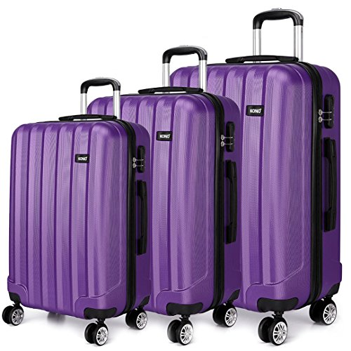 Kono Luggage Suitcase Hard Shell 4 Wheel Spinner Holiday Travel Business Trip Trolley Case 20″ 24″ 28″ Set (1773 Purple 20″+24″+28″)
