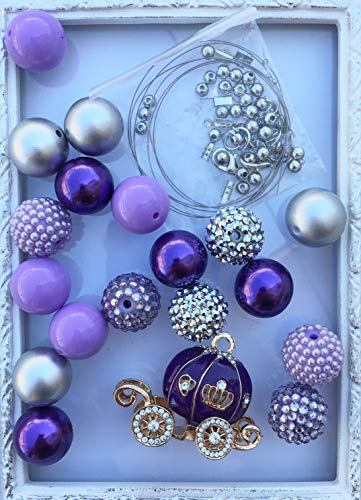 - 20mm Purple & Gold Princess Carriage DIY Necklace Kit with Hardware Chunky Bubble Gum Acrylic Bead Pack Necklace Kit