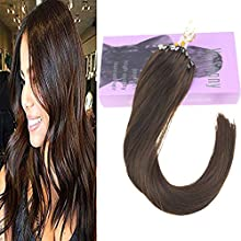 VeSunny 16 Inch MicroBead Hair Extensions Dark Brown #4 Easy Loop Micro Ring Beads Remy Human Hair Extensions 1G/S 50 Strands Micro Link Hair Extensions With Salon Quality