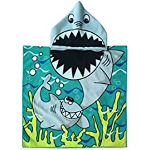 Hooded Poncho Towel for Kids Highly Absorbent Soft Microfibre Great White Shark Bathrobe with Hood