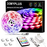 MYPLUS LED Strip Light 16.4 ft  Durable RGB Lights Strips with Remote Control  Color Changing  IP65 Upgrade Waterproof Led Rope Lights for Bedroom Home Party Kitchen Bar Decoration