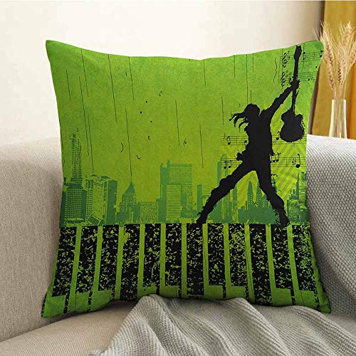 Popstar Party Pillowcase Hug Pillowcase Cushion Pillow Music in The City Theme Singer with Electric Guitar on Grunge Backdrop Anti-Wrinkle Fading Anti-fouling W24 x L24 Inch Lime Green Black -