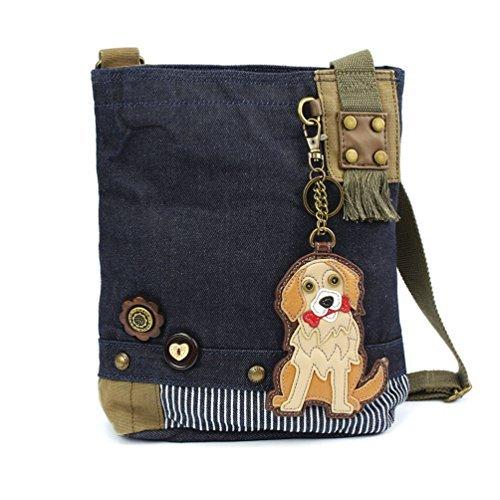 Chala Patch Cross-Body Women Handbag, Canvas Messenger Bag, Golden Retriever - Denim (Canvas Retriever)