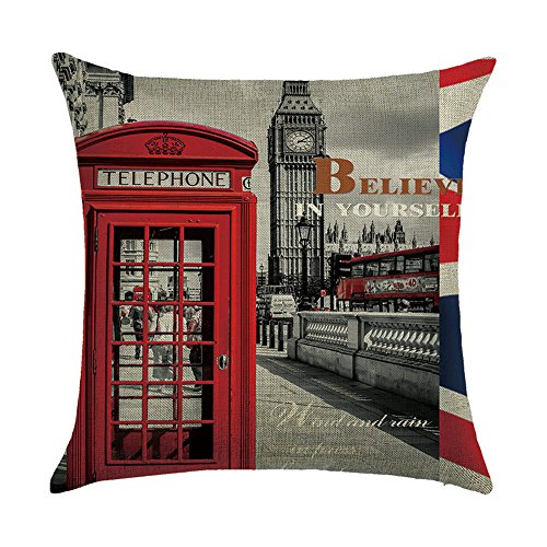 Hengjiang Cushion Covers With England London Telephone Booth Retro Vintage Style City Painting 120g Thick Cotton Linen Double-sided 18x18/45x45cm Throw Pillow -
