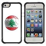 STPlus Lebanon Lebanese Soccer Football Ball Flag Shock Proof Soft Rubber Cover Case for Apple iPhone SE / 5 / 5S