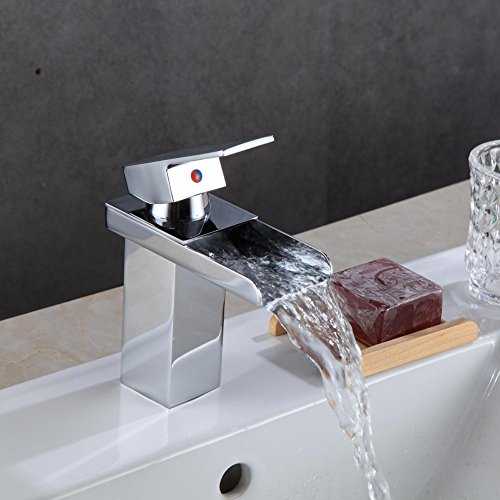 Childplaymate Water Heater Waterfall Basin Sink Tap Square Mixer Chrome Mono Luxury Bathroom Cloakroo by Childplaymate (Image #5)