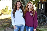 Monogram Quarter Zip Pullover Sweatshirt for Women
