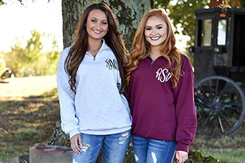 Monogram Quarter Zip Pullover Sweatshirt for Women