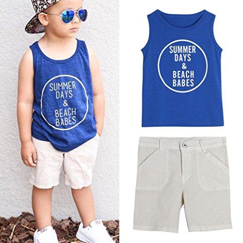 Blue Polyester Parka Set (Baby Boys Outfits Set,Laimeng Toddler Kid Handsome Sleeveless Letter Print Vest T-shirt + Short Pants (0/1T,)