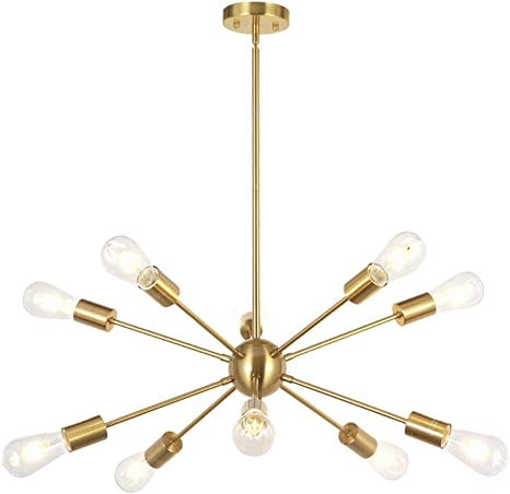 Amazon Com Bonlicht Sputnik Chandelier 10 Light Brushed Brass Modern Pendant Lighting Gold Industrial Vintage Ceiling Light Fixture Ul Listed Home Improvement