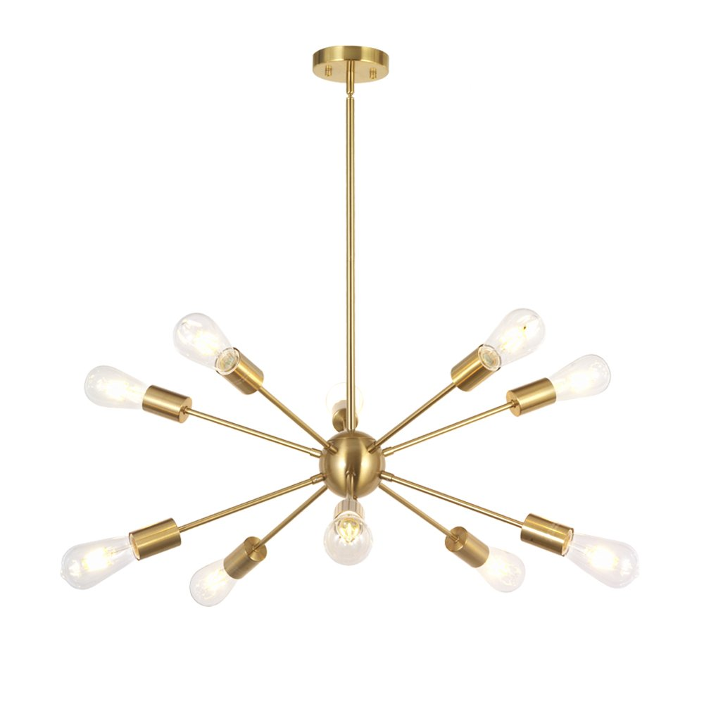 BONLICHT Sputnik Chandelier 10 Light Brushed Brass Modern Pendant Lighting Gold Industrial Vintage Ceiling Light Fixture UL Listed