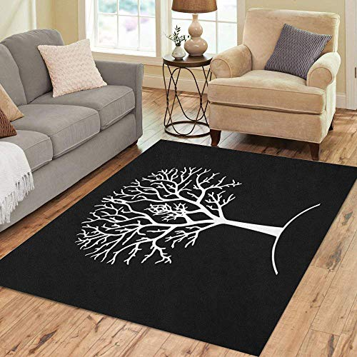 Semtomn Area Rug 5' X 7' Tree Silhouette Black and White Gondor Lord of The Home Decor Collection Floor Rugs Carpet for Living Room Bedroom Dining Room