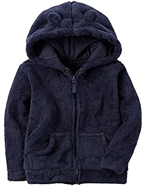 Girl's Snow Fleece Hoodie, Navy, 24m