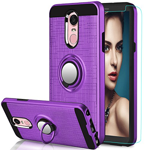 AnoKe LG Stylo 4 Case,LG Q Stylus Case LG Stylo 4 Plus,Stylus 4 Case with HD Screen Protector, 360 Degree Rotating Ring Holder Kickstand Scratch Resistant Drop Protective Cover for Stylo 4 ZS Purple ()