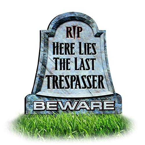 No Trespassing Metal Tombstone Lawn Sign for Yard | Scary and or Funny with Easy Bult in Ground Stake Insalltion | Headstone - Graveyard Style]()
