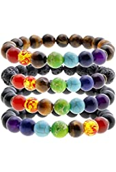JOVIVI 7 Chakra Stone Bracelet Natural Gemstone Yoga Reiki Prayer Stone - Pack of 5