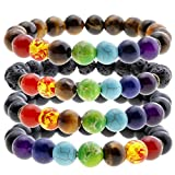 Jovivi 7 Chakra Gemstones Bracelet 10mm Natural Gemstone Yoga Reiki Prayer Stone - Pack of 4