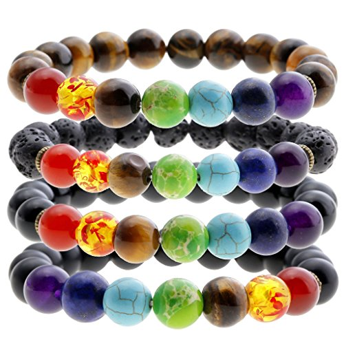 Jovivi 7 Chakra Gemstones Bracelet 10mm Natural Gemstone Yoga Reiki Prayer Stone - Pack of 4 ()