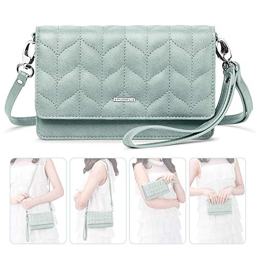 nuoku Women Small Crossbody Bag Cellphone Purse Wallet with RFID Card Slots 2 Strap Wristlet(Max 6.5