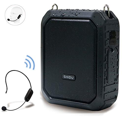 Wireless Voice Amplifier with UHF Mic Headset, 18W 4400mAh Rechargeable Bluetooth Loudspeaker Amp Powerful Mini Pa System Portable Waterproof Power Bank for Teachers,Tour Guides, Yoga, Outdoors ect