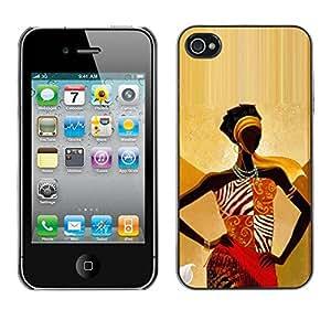 TopCaseStore / la caja del caucho duro de la cubierta de protección de la piel - Gold Goddess Woman Lady - Apple iPhone 4 / 4S
