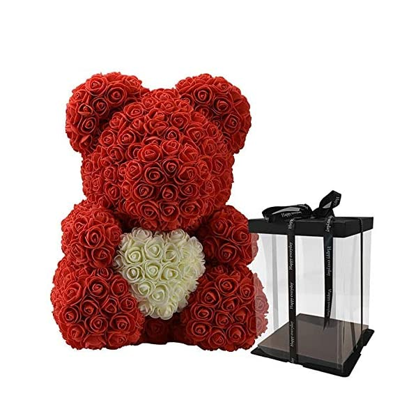 Disnation 40cm Big Rose Teddy Bear with Heart Flower Artificial Decoration Gifts for Women with Presentable Gift Box for Valentines Day Anniversary Birthday Wedding (Red)