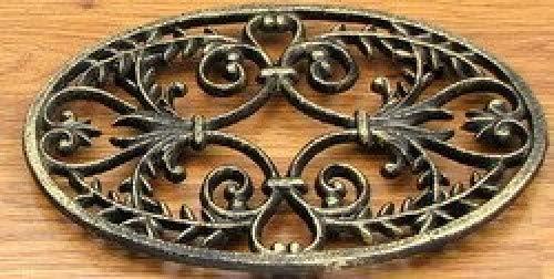 Home Decor- Oval Ornate Cast Iron Trivet