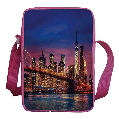(New York Stylish Kids Crossbody Bag,NYC That Never Sleeps Image Neon Lights Reflections on East River City Image Print for Girls,9