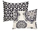Chic Home Ibiza 3 Piece Duvet Cover Set Super Soft Reversible Microfiber Large Printed Medallion Design with Geometric Patterned Backing Zipper Closure Bedding with Decorative Shams, King Black